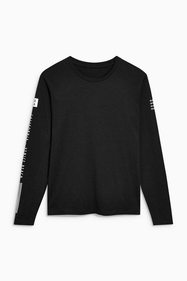 Next Langarmshirt mit Grafik in Black