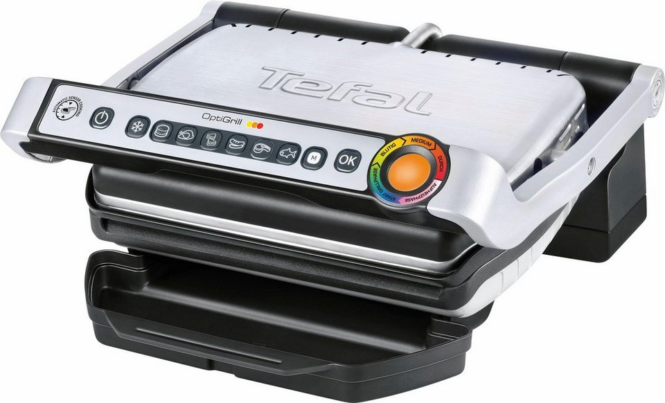 Tefal Elektrogrill Optigrill GC702D, 2000 Watt, mit Rezeptbuch, 6 voreingestellte Grillprogramme in schwarz/gebürsteter Edelstahl