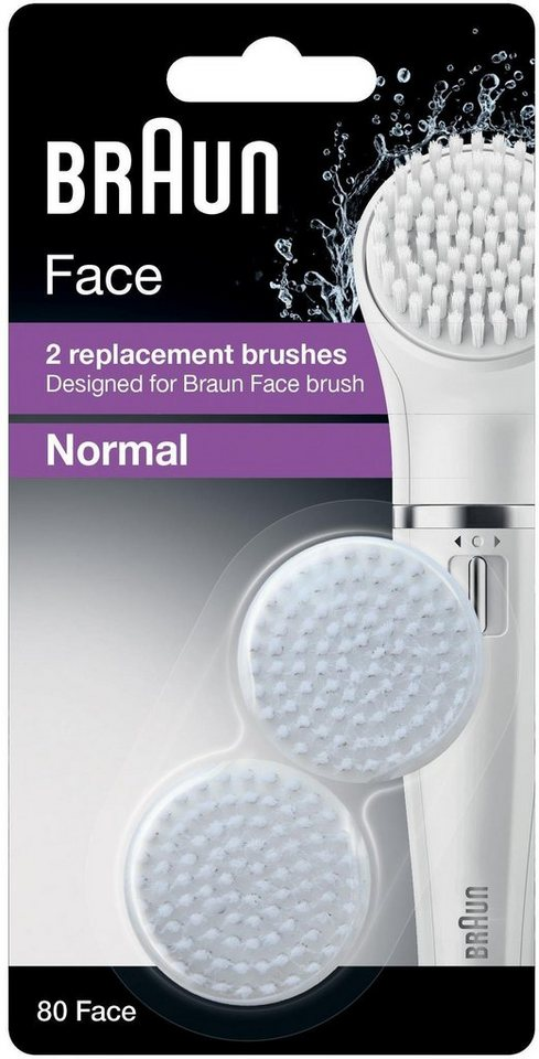 Braun, Ersatzbürste Face 80, (Gesichtsreinigungsbürste Aufsatz), 2er Pack
