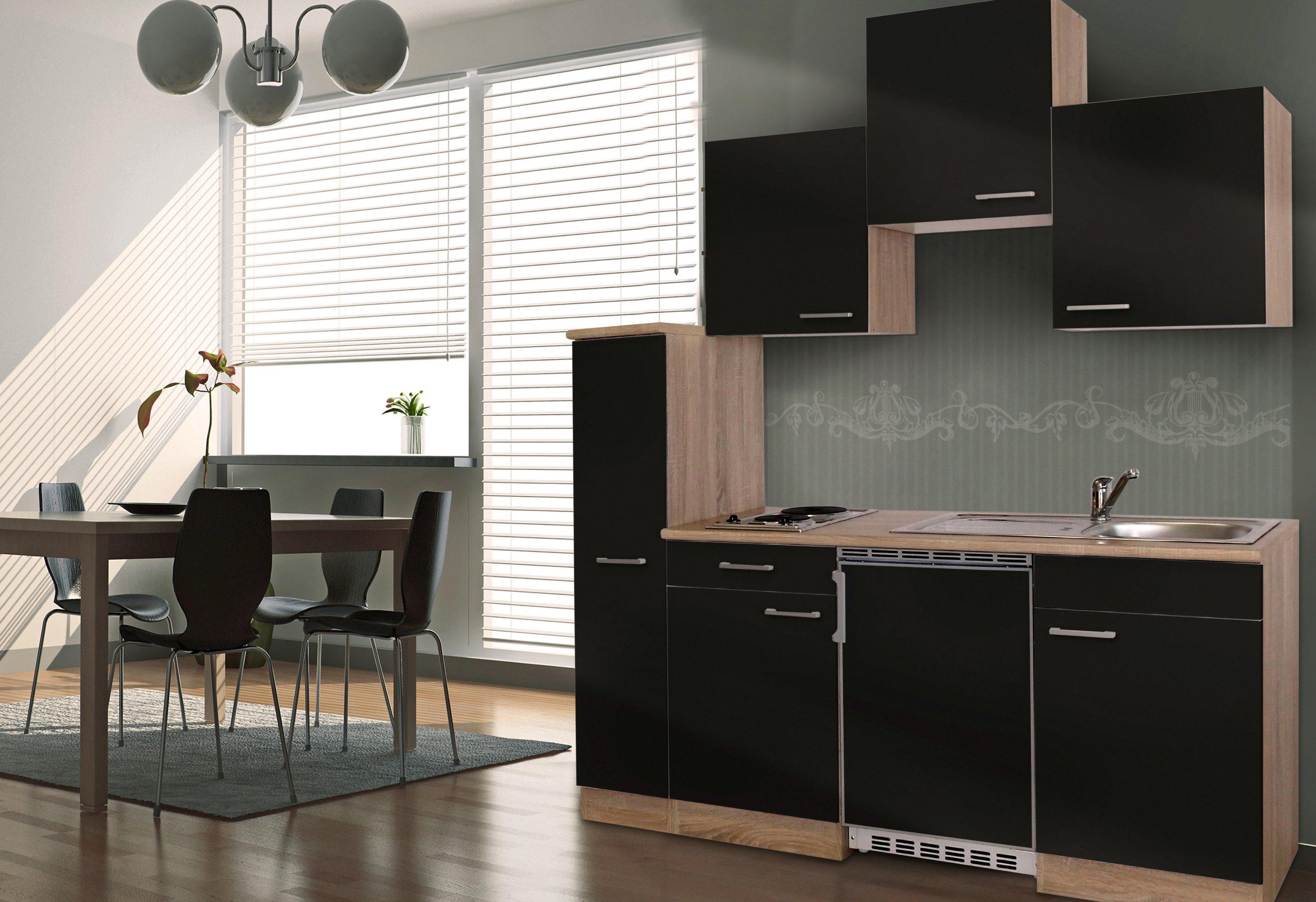 Respekta Miniküche mit E-Geräten, Breite 180 cm   Küche und Esszimmer > Küchen > Miniküchen   Weiß - Schwarz - Rot - Grau   Holzwerkstoff - Kunststoff   RESPEKTA