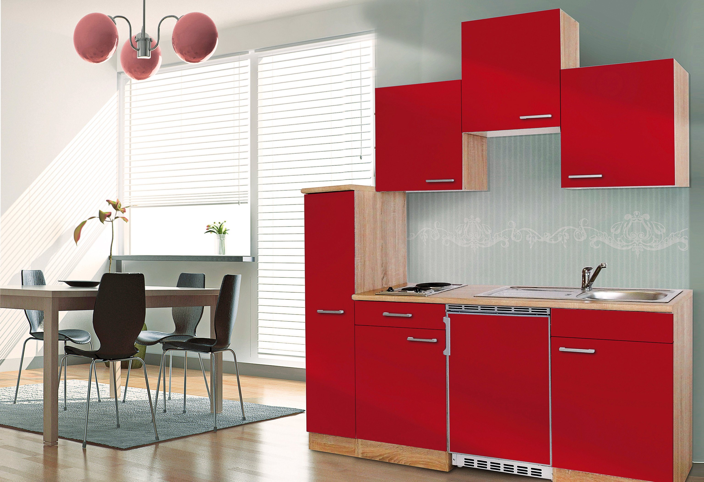 Respekta Miniküche mit E-Geräten, Breite 180 cm | Küche und Esszimmer > Küchen > Miniküchen | Weiß - Schwarz - Rot - Grau | Holzwerkstoff - Kunststoff | RESPEKTA