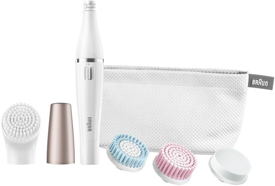 Braun, Gesichtsreinigungsbürste und Gesichtsepilierer, Face 851, inklusive Aufsatz-Mix 4er in weiß