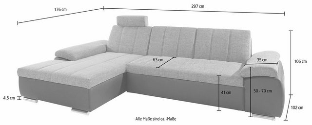 Schlafsofas - DOMO collection Ecksofa, mit Recamiere, wahlweise mit Bettfunktion  - Onlineshop OTTO