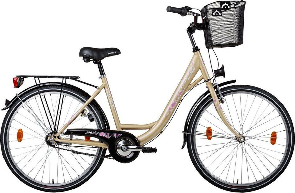 Biria Citybike, Damen, Stahl, 3-Gg. SHIMANO Nexus, Rücktritt, Korb in beige