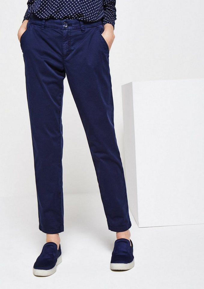 COMMA Leichte Twillpants im Used-Look in marine