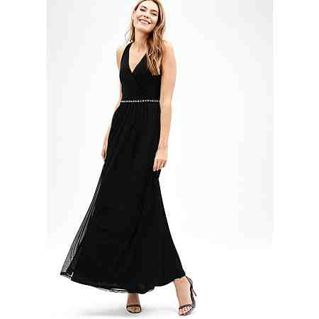 s.Oliver BLACK LABEL Langes Mesh-Kleid mit Strass