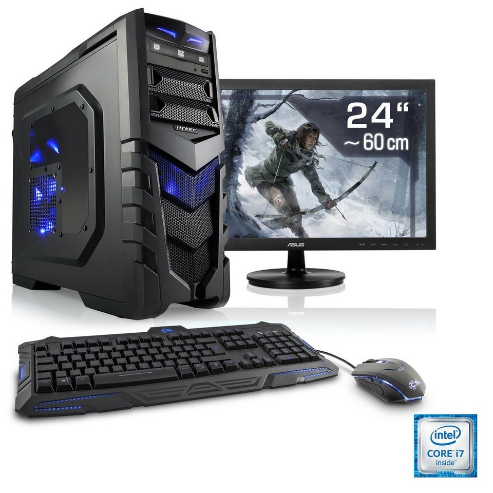 csl gaming pc set i7 6700 geforce gtx 1060 16 gb ram 24 tft speed t7692 windows 10. Black Bedroom Furniture Sets. Home Design Ideas