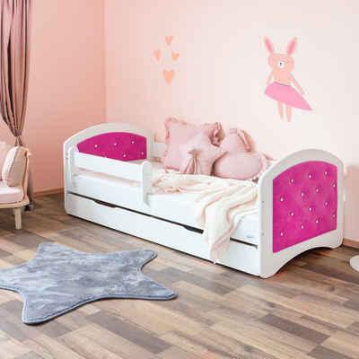 Alcube Kinderbett »JASMIN I 80x160 cm«, inkl. Matratze, Schublade und Lattenrost, Mädchen Bett mit VELVET Bett-Kopfteil funkeln Diamanten in Pink/Weiß I Einzigartiges Design