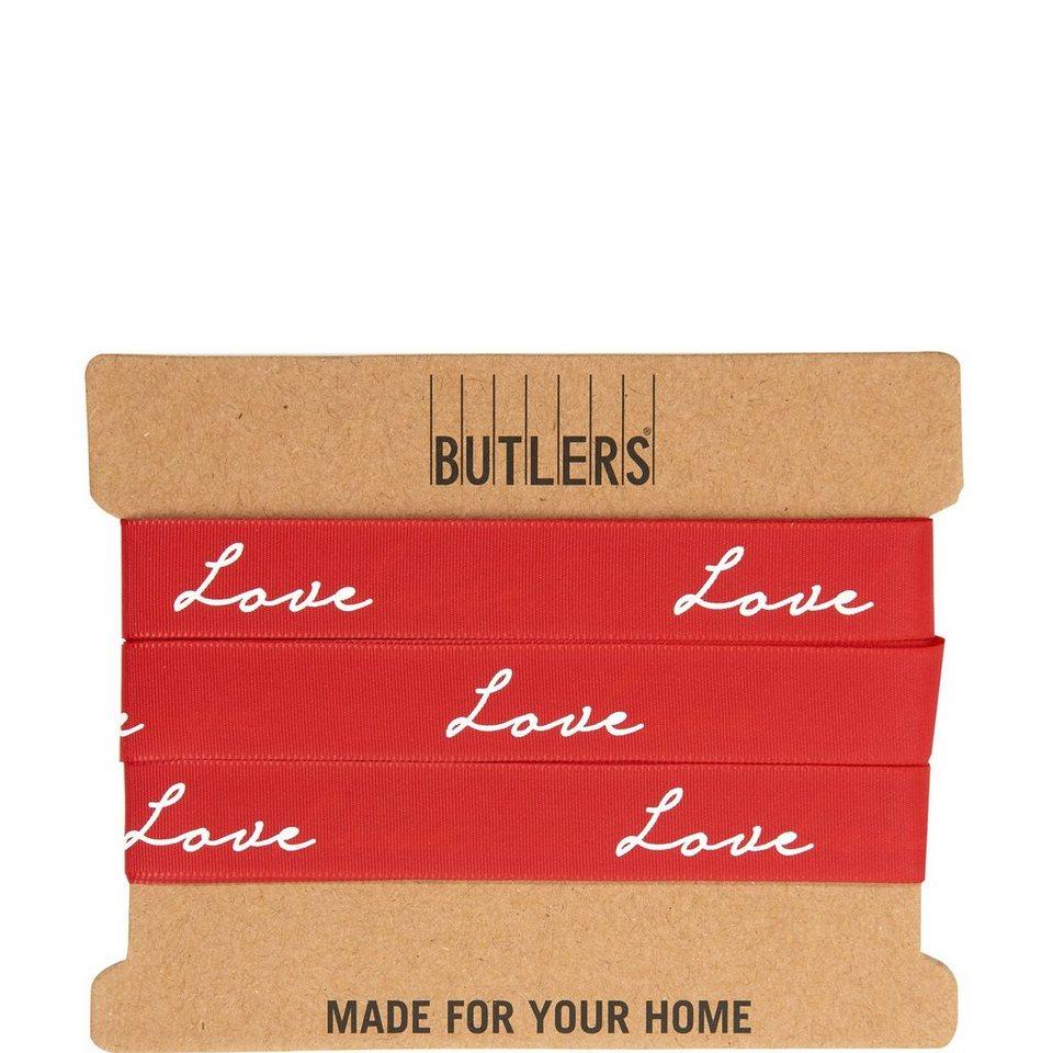 BUTLERS RIBBON »Geschenkband LOVE« in rot