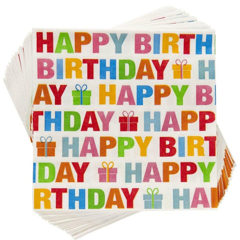 BUTLERS APRÈS »Papierserviette Happy Birthday« in bunt