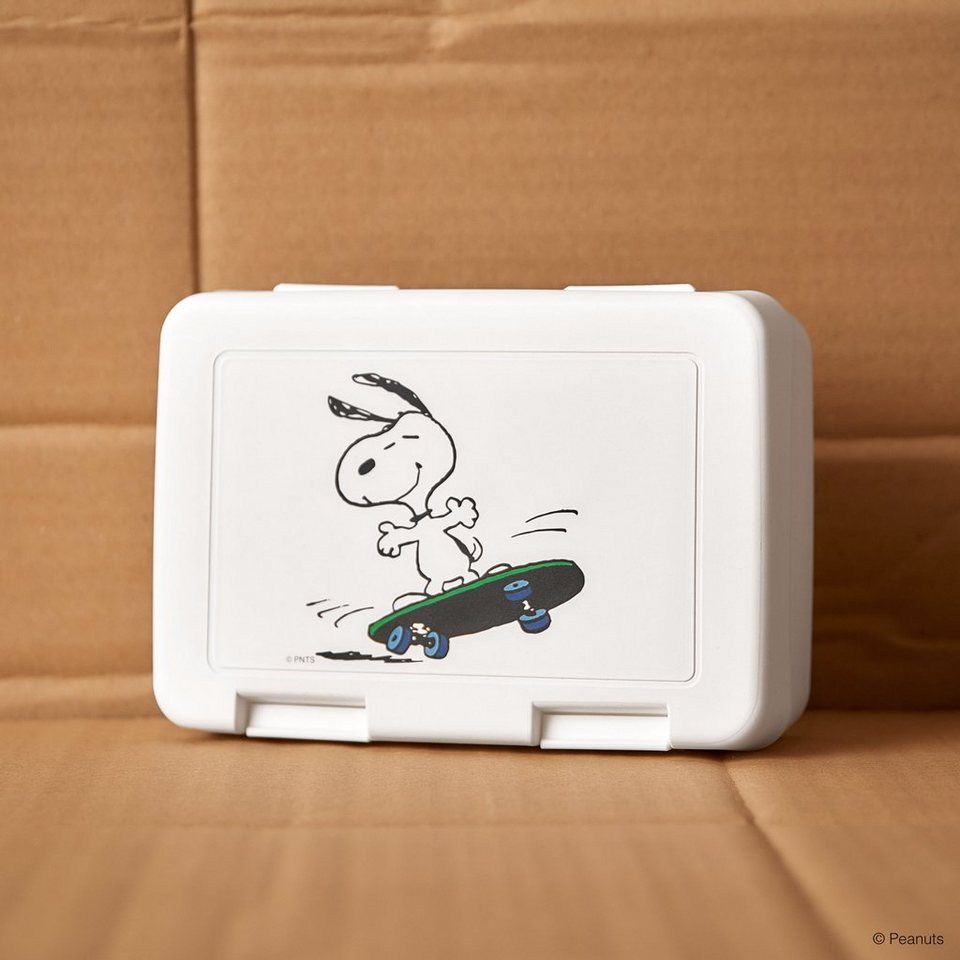 BUTLERS PEANUTS »Brotdose Snoopy Skateboarder« in weiss