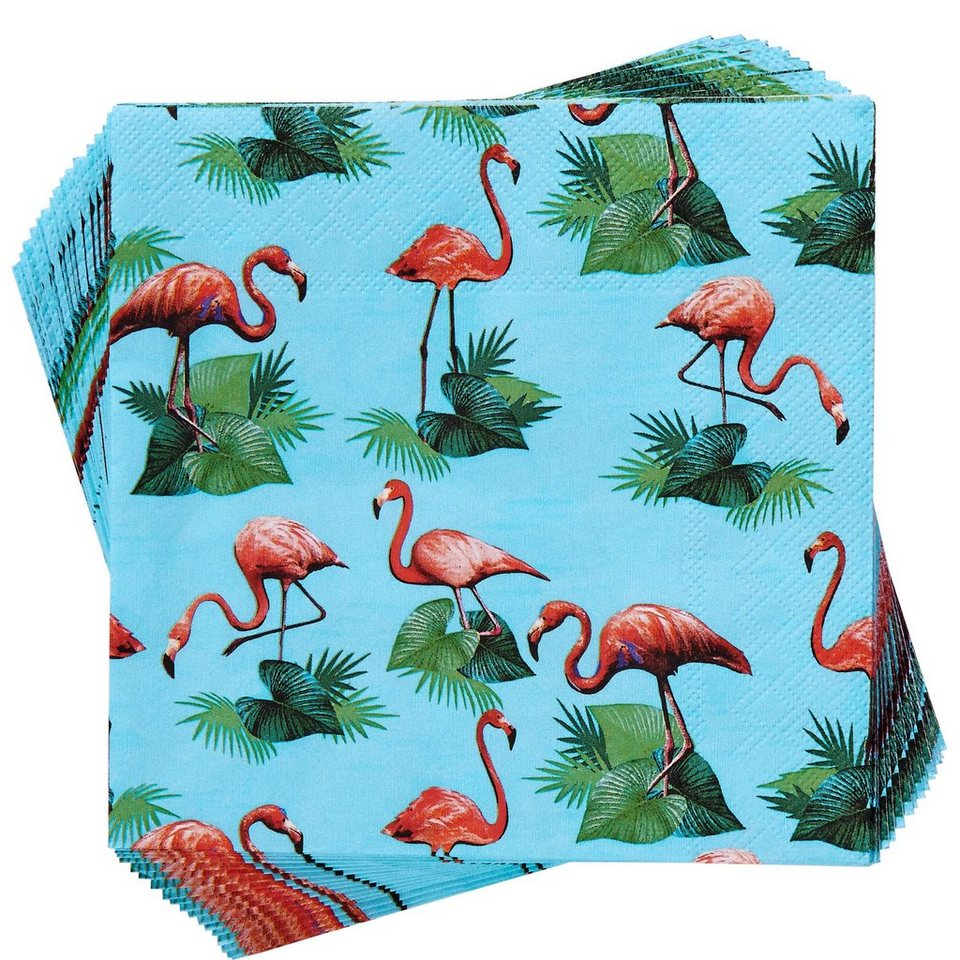 BUTLERS APRÈS »Papierserviette Flamingos« in blau