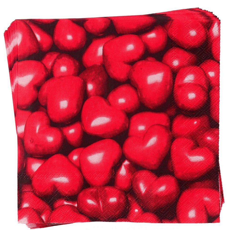 BUTLERS APRÈS »Papierserviette Stone Hearts« in rot