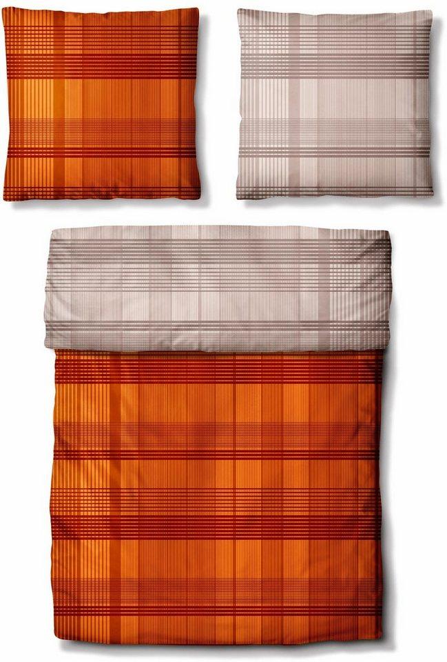Wendebettwäsche, Auro Hometextile, »Twin Set«, Karos mit Wendeseite in orange-taupe