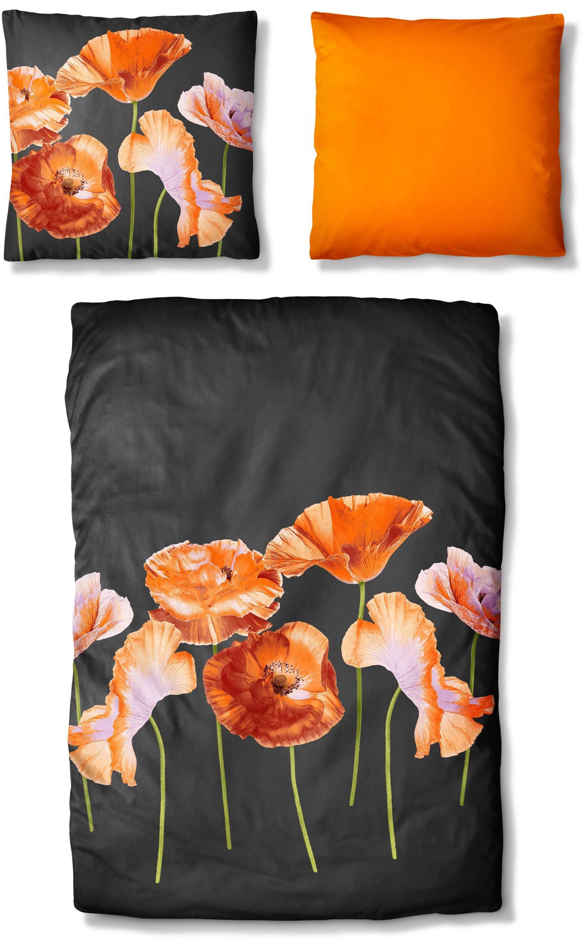 Bettwäsche, Auro Hometextile, »Mohnblumen«, mit großen Blumen