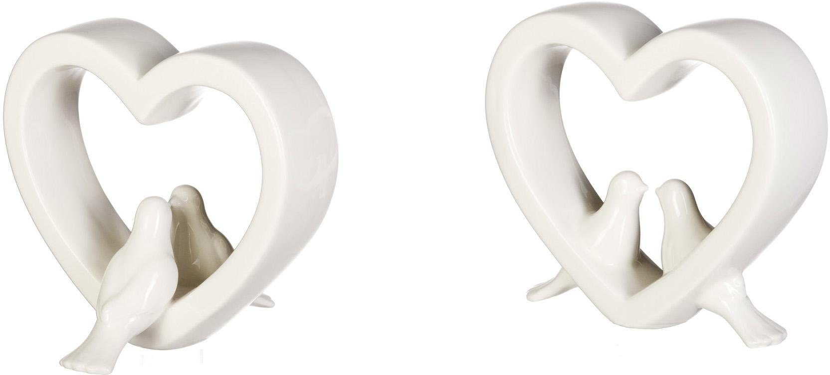 Keramik Herz mit Taubenpaar (2er Set)