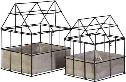 Metall Gewächshaus mit Holzkiste (2er Set)