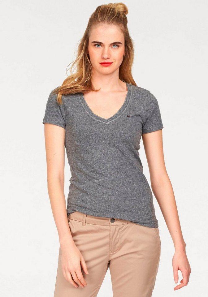 Hilfiger Denim T-Shirt (mit Arm) »THDW BASIC VN KNIT S/S 4« in TOMMY BLACK