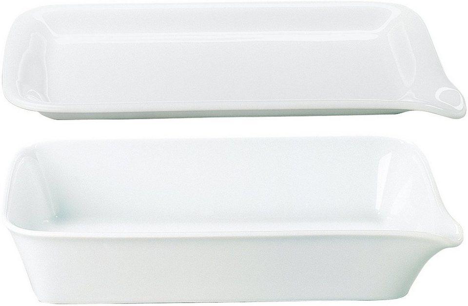 Kahla MAXI Backform + Menüplatte, Porzellan, 37x26 cm in weiß