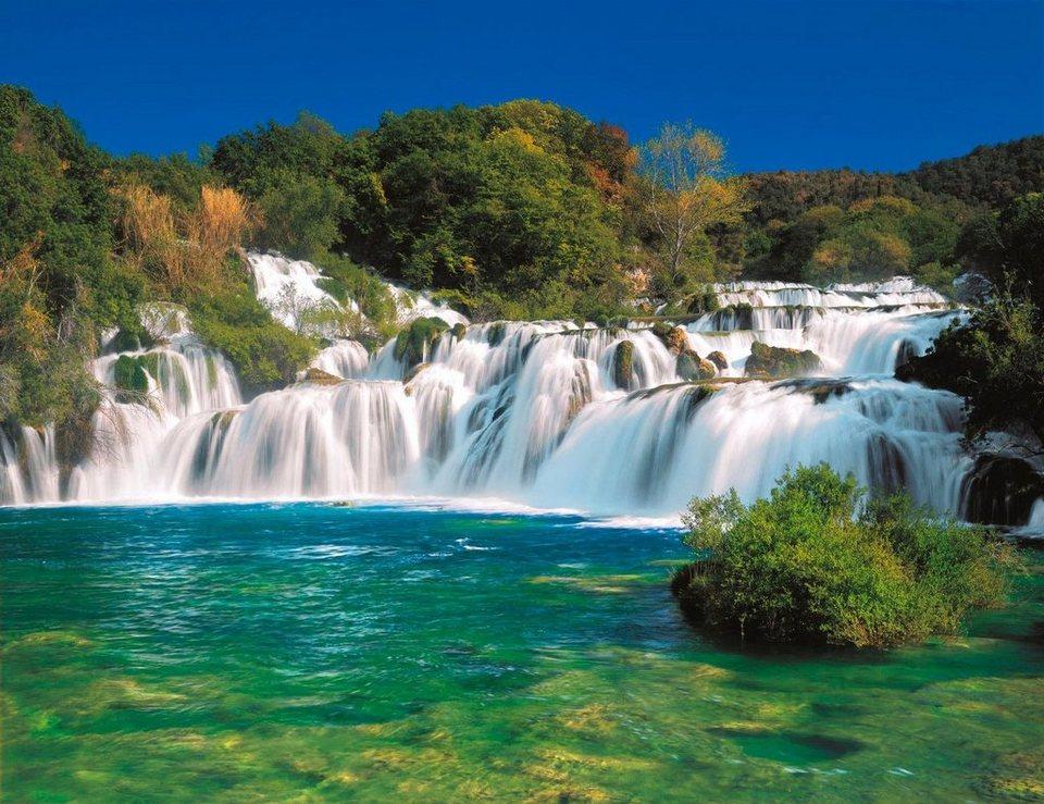 Home affaire Fototapete »Krka Falls«, 368/254 cm in grün/blau/weiß