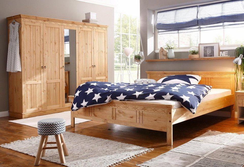 Home affaire Schlafzimmer-Set(2-tlg.) »Indra« mit dekorativen Fräsungen in gelaugt/geölt
