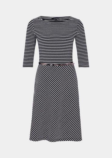 COMMA Schönes 3/4-Arm Kleid mit raffiniertem Wabenmuster