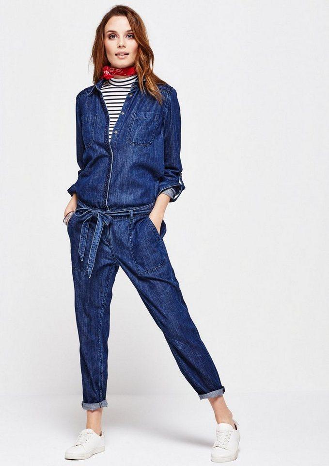 COMMA Lässiger Jeans-Jumpsuit im Used-Look in blue denim non stret