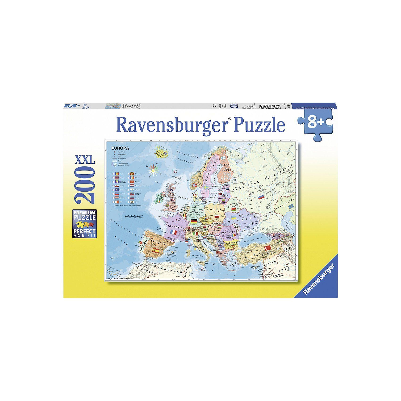 Ravensburger Puzzle, 200 Teile XXL, 49x36 cm, Politische Europakarte