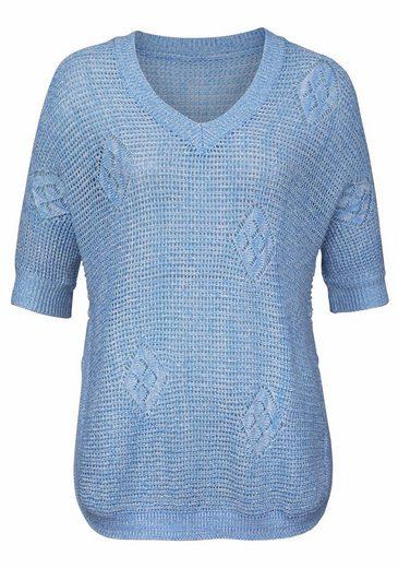 Vivance V-Ausschnitt-Pullover, in luftiger Strickart