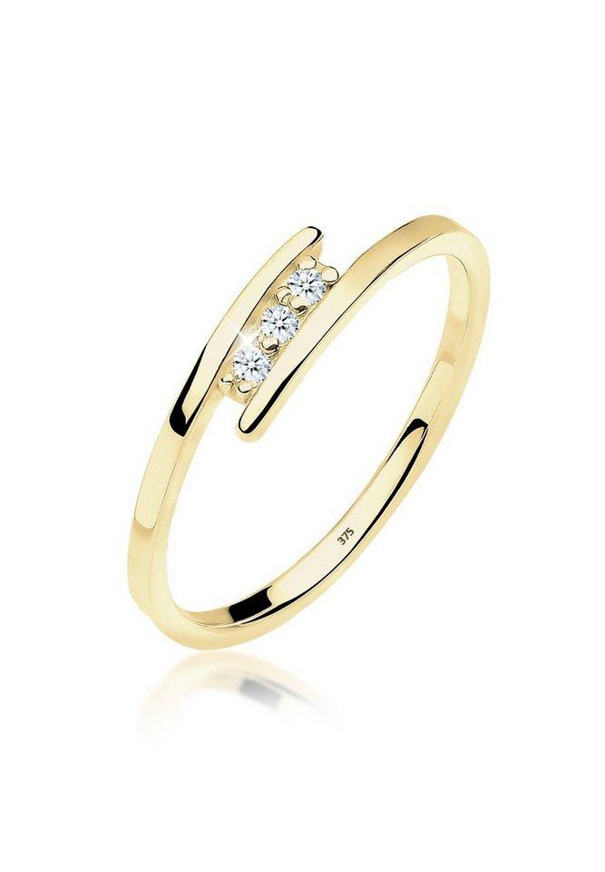 Diamore Ring »Verlobungsring Trio Diamant 0.06 ct. 375 Gelbgold« in Weiß