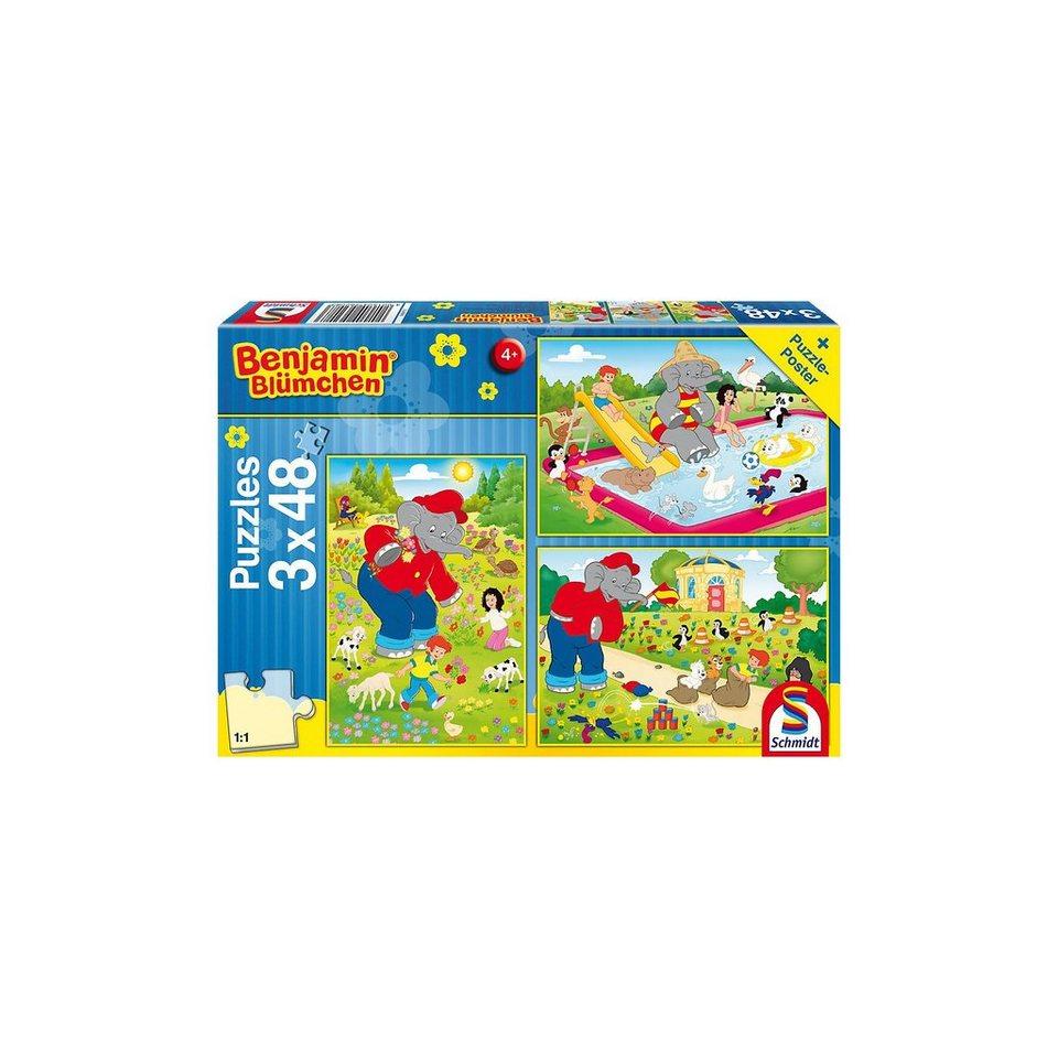 Schmidt Spiele Kinderpuzzleset 3 x 48 Teile Benjamin Blümchen, Sommerzeit online kaufen