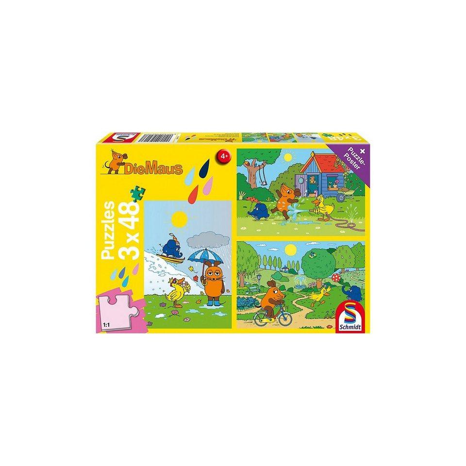 Schmidt Spiele Kinderpuzzleset 3 x 48 Teile Die Maus, Viel Spaß mit der Mau online kaufen