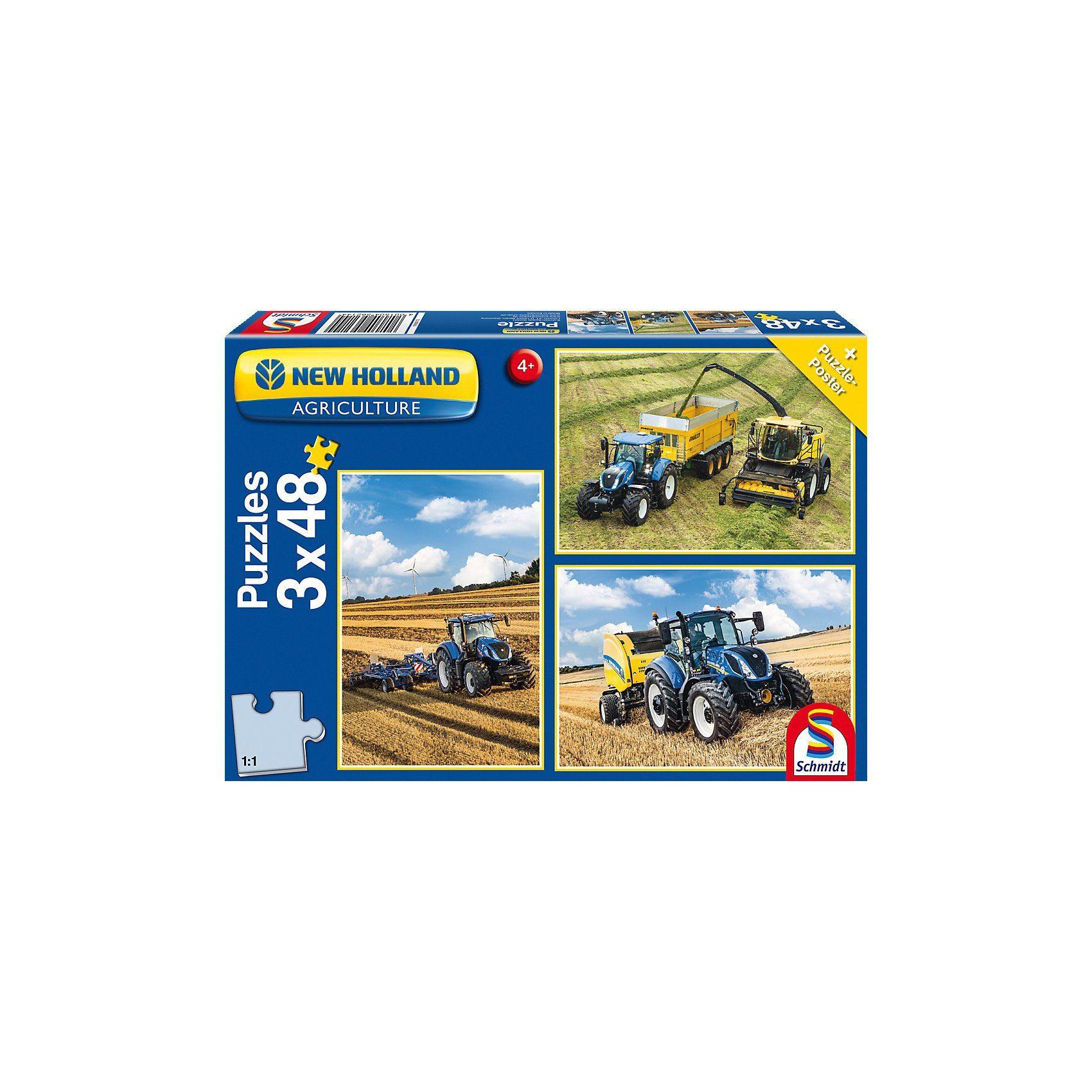 Schmidt Spiele Kinderpuzzleset 3 x 48 Teile Traktor New Holland T7315/T5120