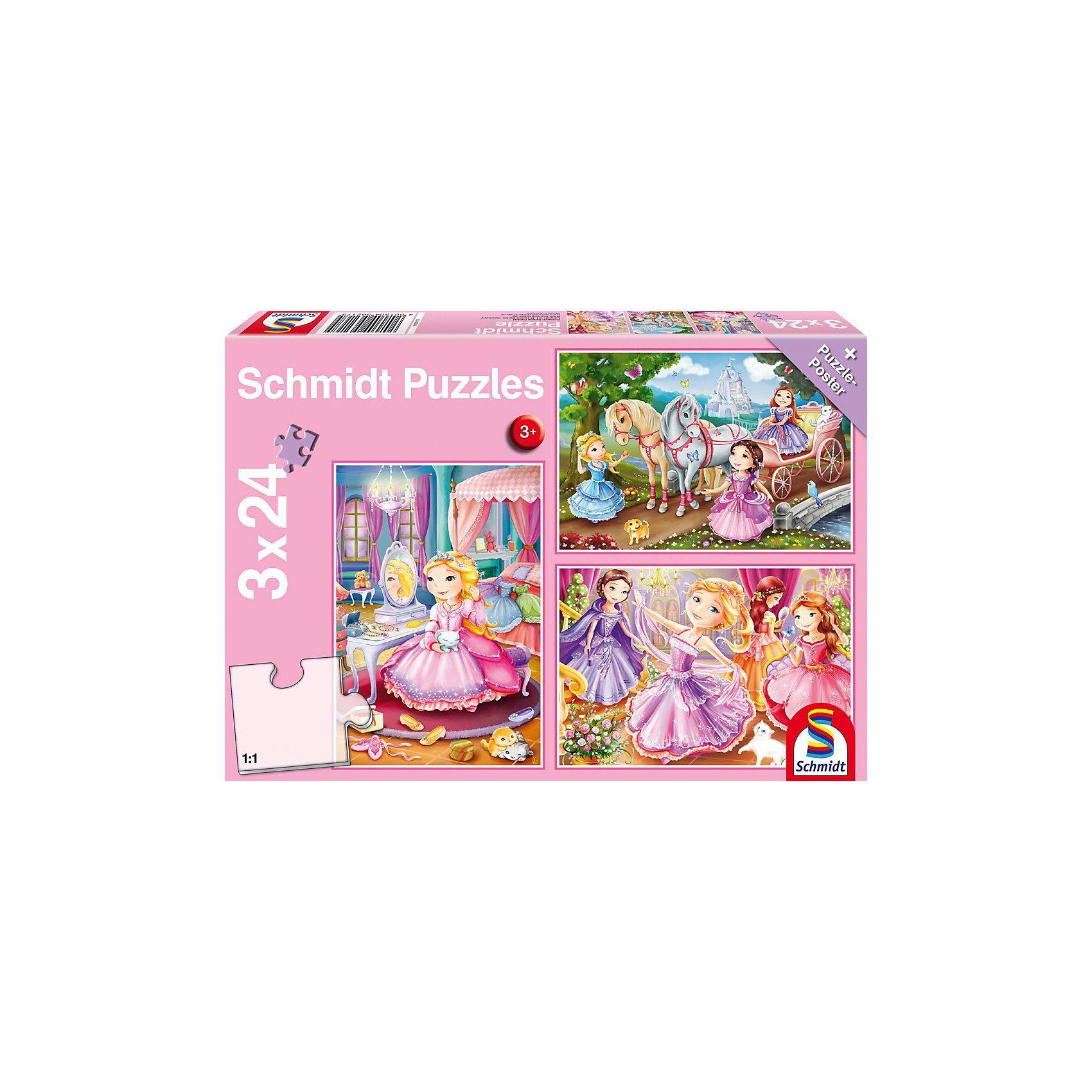 Schmidt Spiele Kinderpuzzleset 3 x 24 Teile, Märchenhafte Prinzessin