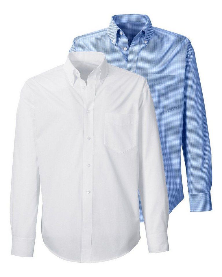 Highmoor Hemden-Doppelpack in Blau/Weiß+Weiß uni