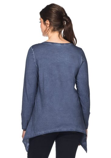 sheego Casual Langarmshirt, in Oil-washed-Optik, jedes Teil ein Unikat