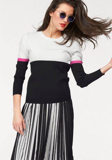 Aniston Rundhalspullover, in Colorblocking