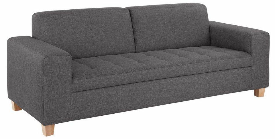 Home affaire 3-Sitzer, mit Steppung auf Sitzfläche in anthrazit