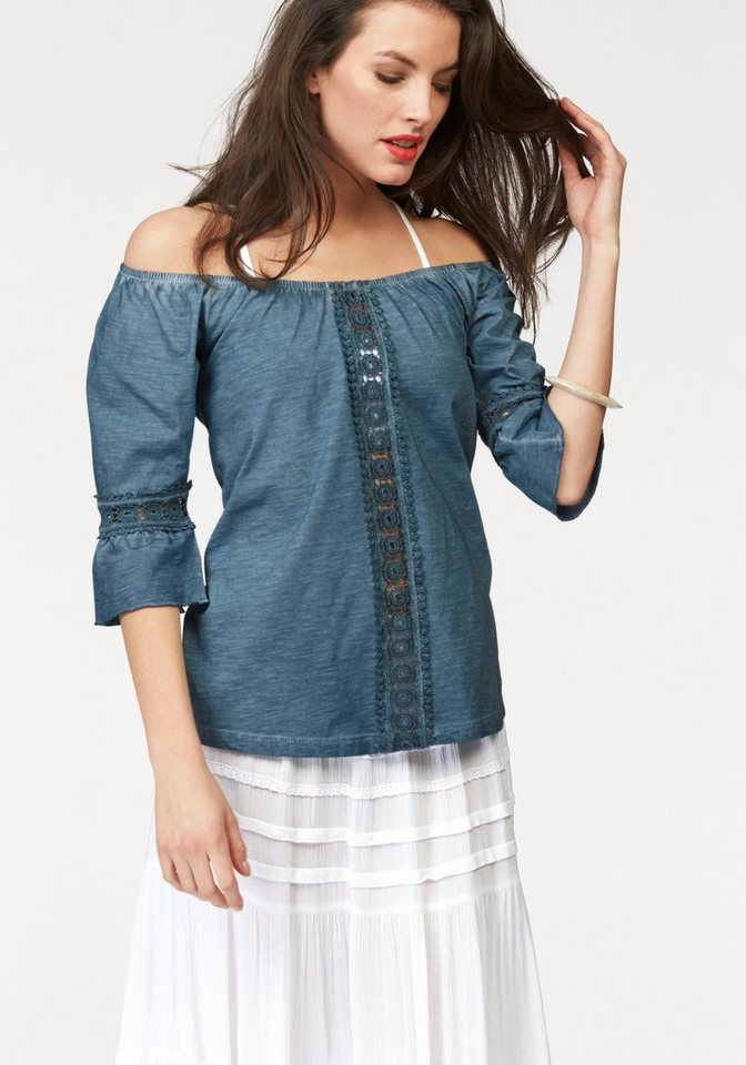 Aniston Rundhalsshirt im Vokuhila-Style in jeans