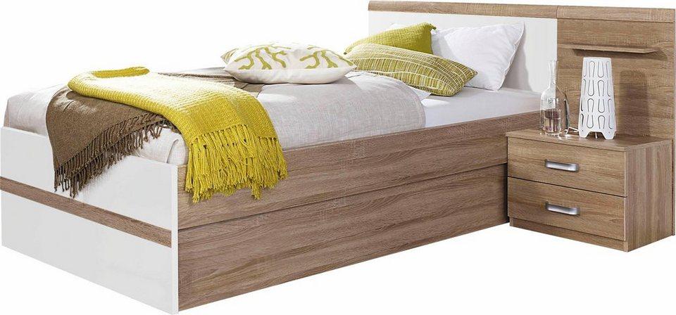 rauch Bettanlage, mit Bettkasten in struktureichefarben hell/weiß