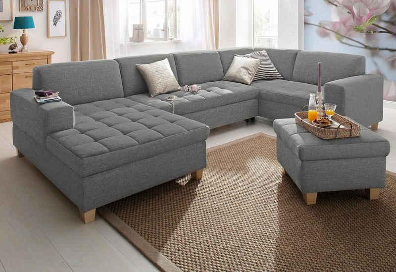 Home affaire Wohnlandschaft »Corby«, wahlweise mit Bettfunktion, Steppung auf Sitzfläche