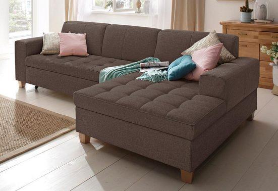 Home affaire Ecksofa »Corby«, wahlweise mit Bettfunktion, Steppung auf Sitzfläche