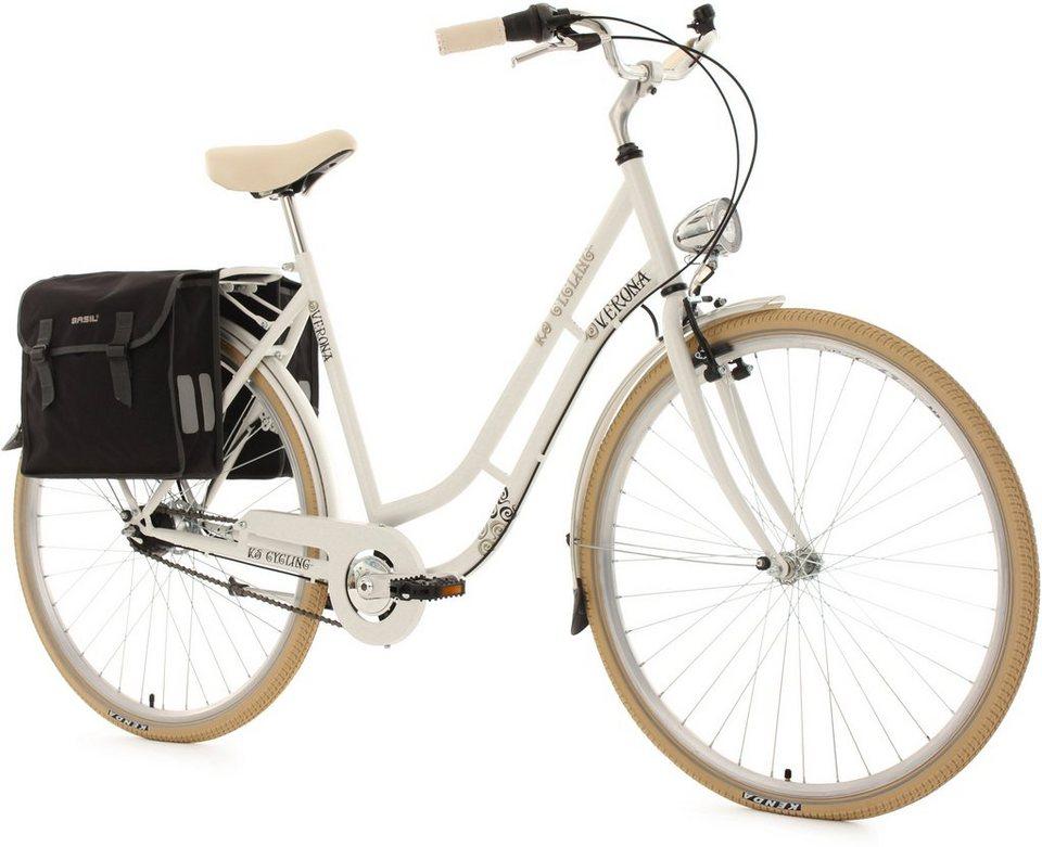 KS Cycling Damen-Cityrad, 28 Zoll, weiß, 7 Gang Shimano Nexus, inkl. Doppelpacktasche, »Verona« in weiß