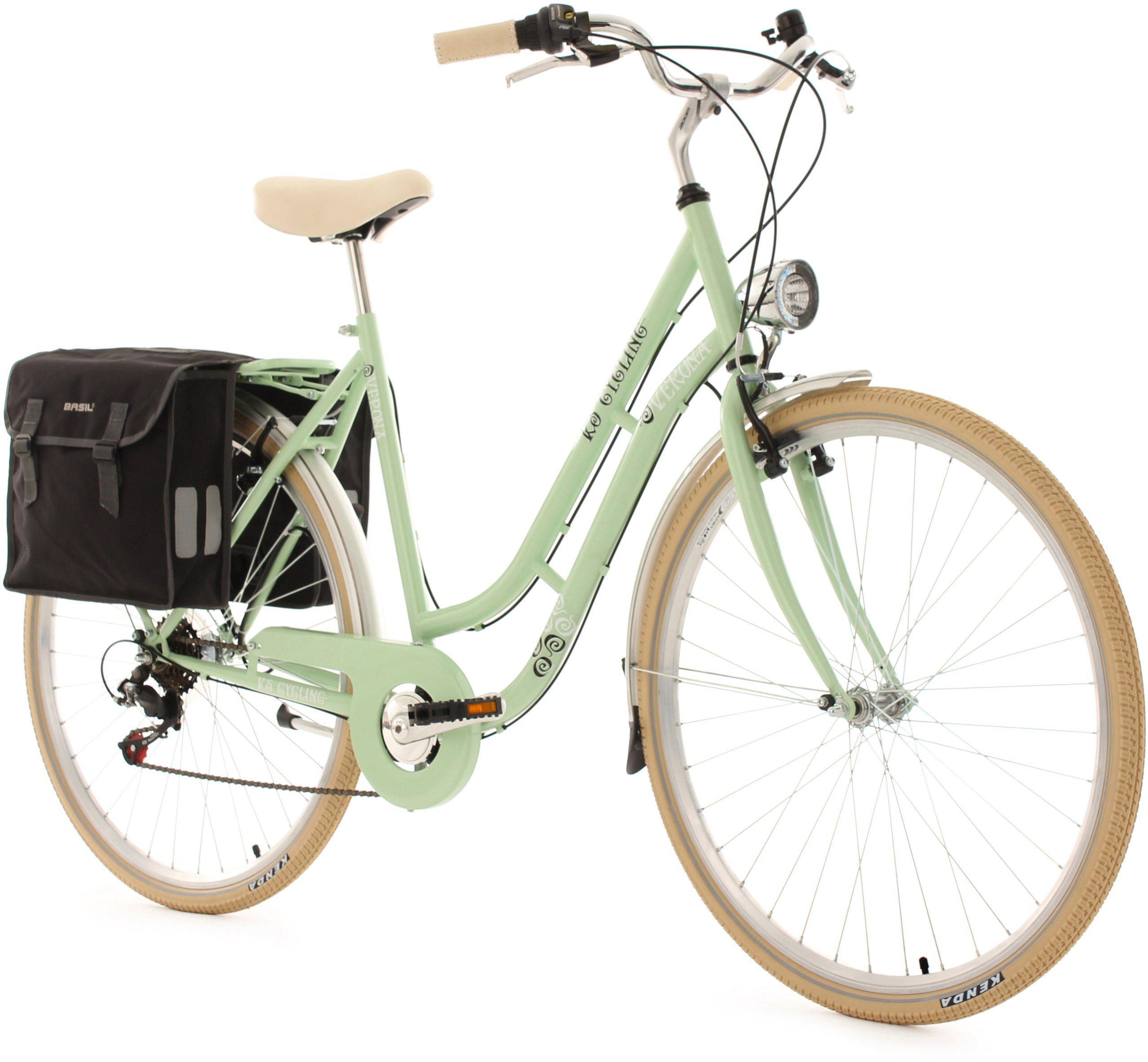 KS Cycling Damen-Cityrad, 28 Zoll, grün, 6 Gang Shimano Tourney inkl. Doppelpacktasche, »Verona«