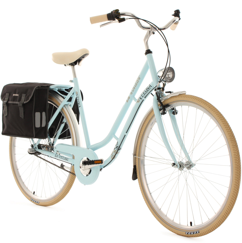 KS Cycling Damen-Cityrad, 28 Zoll, blau, 3 Gang Shimano Nexus, inkl. Doppelpacktasche, »Verona«