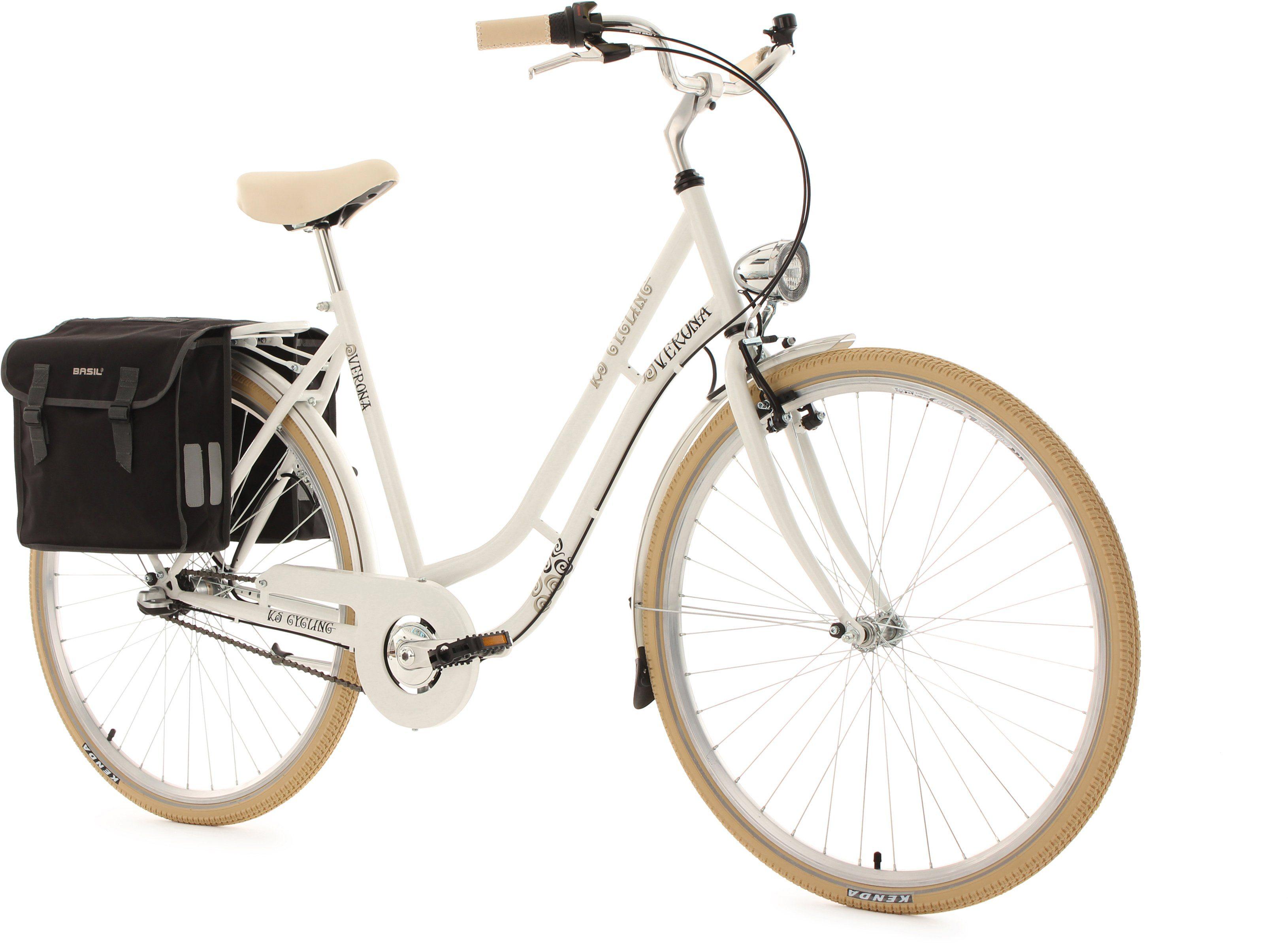 KS Cycling Damen-Cityrad, 28 Zoll, weiß, 3 Gang Shimano Nexus, inkl. Doppelpacktasche, »Verona«