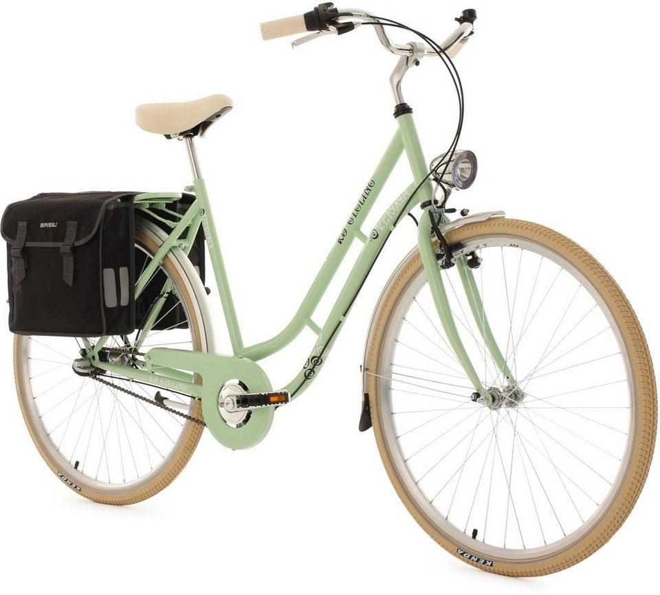 KS Cycling Damen-Cityrad, 28 Zoll, grün, 3 Gang Shimano Nexus, inkl. Doppelpacktasche, »Verona« in grün