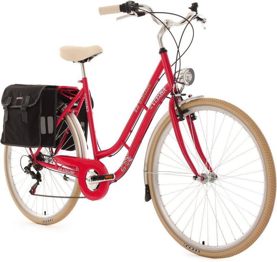 KS Cycling Damen-Cityrad, 28 Zoll, 6 Gang Shimano Tourney inkl. Doppelpacktasche, »Verona« in himbeerrot