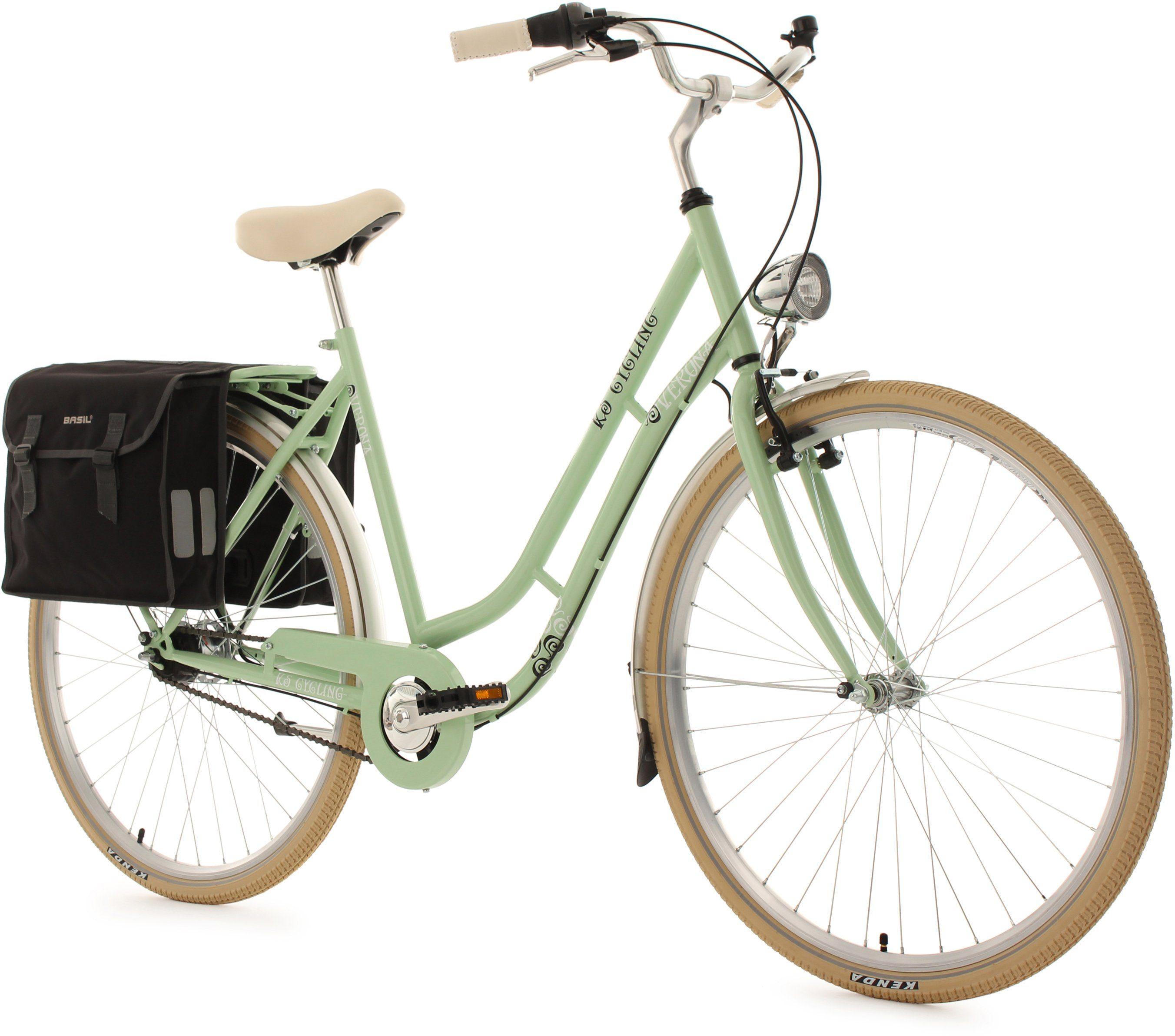 KS Cycling Damen-Cityrad, 28 Zoll, grün, 7 Gang Shimano Nexus, inkl. Doppelpacktasche, »Verona«