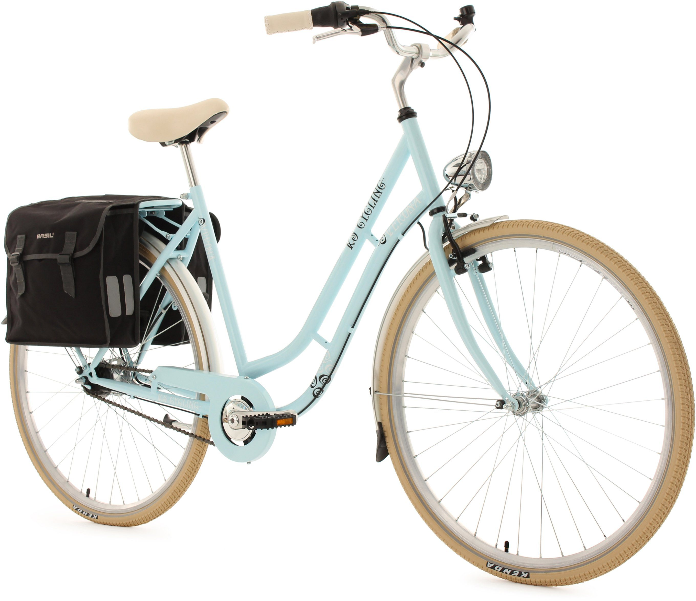 KS Cycling Damen-Cityrad, 28 Zoll, blau, 7 Gang Shimano Nexus, inkl. Doppelpacktasche, »Verona«
